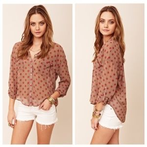 Free People M polka dot hi-low button up blouse